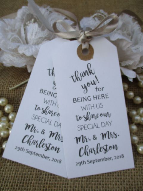 10 Thank You for Being Here Personalized Tags White